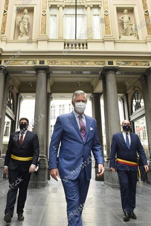 Stock Photo of King Philippe or Filip of Belgium wears a mask during a visit to several shops in Brussels' city center, Belgium, 10 May 2020. From 11 May, all shops will be open in Belgium. In order to contain the spread of coronavirus, Belgium implemented confinement guidelines for the public which is scheduled to be in place until 11 May 2020.