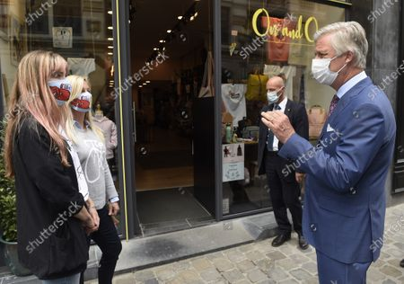 Editorial picture of King Philippe of Belgium visits shops ahead of reopening, Brussels - 10 May 2020