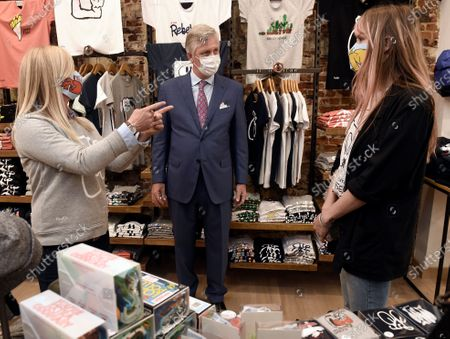 King Philippe or Filip of Belgium wears a mask during a visit to several shops in Brussels' city center, Belgium, 10 May 2020. From 11 May, all shops will be open in Belgium. In order to contain the spread of coronavirus, Belgium implemented confinement guidelines for the public which is scheduled to be in place until 11 May 2020.