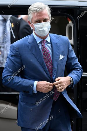 Editorial image of King Philippe visiting shops, Brussels, Belgium - 10 May 2020