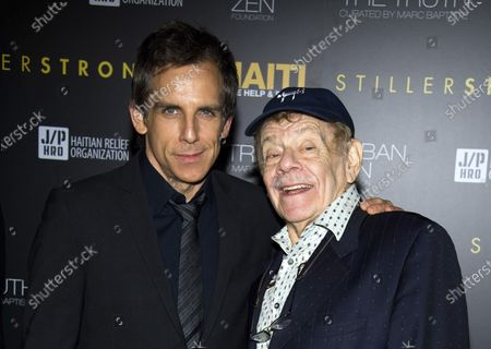 """Ben Stiller, left, and his father Jerry Stiller arrive at the Help Haiti benefit honoring Sean Penn hosted by the Stiller Foundation and The J/P Haitian Relief Organization, in New York. Comedian veteran Jerry Stiller, who launched his career opposite wife Anne Meara in the 1950s and reemerged four decades later as the hysterically high-strung Frank Costanza on the smash television show """"Seinfeld,"""" died at 92, his son Ben Stiller announced Monday"""