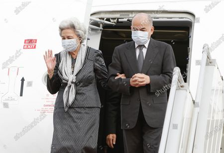 Cambodian King Norodom Sihamoni (R) and his mother Queen Norodom Monineath (L) arrive at Phnom Penh International Airport in Phnom Penh, Cambodia, 11 May 2020. Cambodian King Norodom Sihamoni and his mother Queen Norodom Monineath came back from a health check-up in China.
