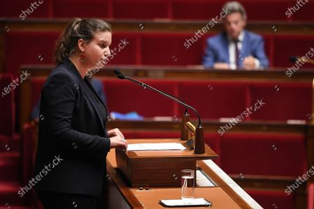 French leftist La France Insoumise (LFI) party member of Parliament Mathilde Panot during the debate on the national strategy of the deconfinement plan in the context of the fight against the COVID-19 pandemic at the National Assembly in Paris, France