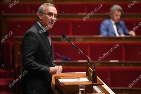 Stock Photo of Member of Parliament Jean-Carles Grelier during the debate on the national strategy of the deconfinement plan in the context of the fight against the COVID-19 pandemic at the National Assembly in Paris, France