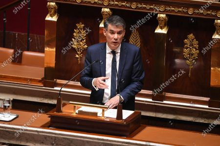 French Socialist Party (PS) First Secretary Olivier Faure during the debate on the national strategy of the deconfinement plan in the context of the fight against the COVID-19 pandemic at the National Assembly in Paris, France