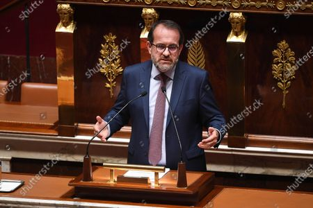 French member of Parliament Herve Saulignac during the debate on the national strategy of the deconfinement plan in the context of the fight against the COVID-19 pandemic at the National Assembly in Paris, France