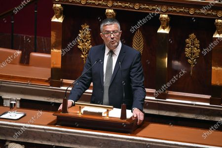 French Member of Parliament of the Libertes et Territoires parliamentary group Bertrand Pancher during the debate on the national strategy of the deconfinement plan in the context of the fight against the COVID-19 pandemic at the National Assembly in Paris, France