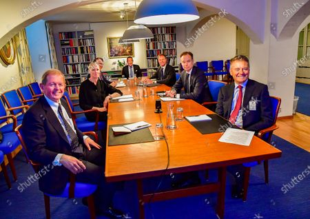 Stock Photo of King Carl Gustaf and Prince Daniel during a video conference with representatives of the Swedish business community Cecilia Malmstrom, Anna Stellinger, Carl-Henric Svanberg, Marcus Wallenberg, Leif Johansson, Carl Bennet, Jacob Wallenberg and Fredrik Persson at Stockholm Castle