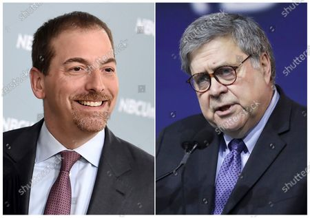 """This combination photo shows Chuck Todd at the 2018 NBCUniversal Upfront in New York, left, and Attorney General William Barr speaking at the National Religious Broadcasters Convention in Nashville Tenn., on Feb. 26, 2020. NBC News is apologizing for a """"Meet the Press"""" segment that cut a portion of an interview with Attorney General William Barr that left a false impression. That has led to President Donald Trump calling for the network to fire the show moderator Chuck Todd. The show was discussing the Justice Department's decision to drop its case against the president's former national security adviser, Michael Flynn, and referred to a CBS interview where Barr said of the decision that history is written by the winners. Todd criticized Barr for not making the case that he was upholding the law - but, in fact, Barr went on to do that in his complete answer to the CBS reporter"""