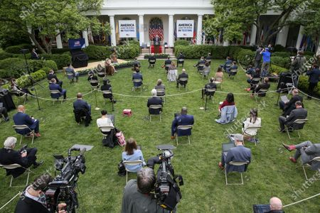 United States President Donald J. Trump abruptly walks away from the podium after speaking during a press briefing on testing in the Rose Garden of the White House in Washington, DC.