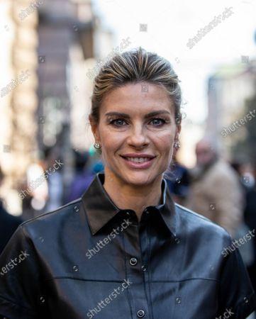 Martina Colombari ex model hosted at the Max Mara fashion show during the Milan fashion week