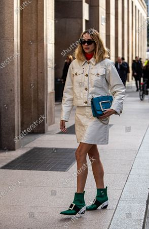 Candela Pelizza fashion influencer on the streets of Milan during the fashion week
