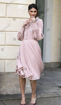 Stock Picture of Linda Morselli wears a Luisa Beccaria dress during the women's fashion week in February