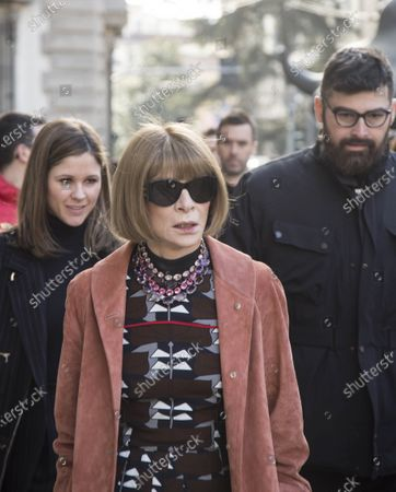 Anna Wintour, journalist and editor of Vogue America magazine in Milan during Milan women's fashion