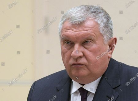 Rosneft CEO Igor Sechin attends a meeting with Russian President Vladimir Putin (not pictured) at the Novo-Ogaryovo state residence outside Moscow, Russia, 12 May 2020.