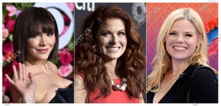 """This combination of photos shows, from left, Katharine McPhee, Debra Messing and Megan Hilty, who will reunite May 20 to present a stream of the one-night-only 2015 Broadway concert of the musical within the TV show """"Smash."""" In the series, Hilty and McPhee played feuding actresses hoping to play Marilyn Monroe"""