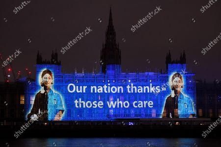 An illumination is projected on the Houses of Parliament to mark the bicentenary of the birth of Florence Nightingale.  The Florence Nightingale Museum and Guy's and St Thomas' NHS Trust are commemorating the founder of modern nursing, and those she continues to inspire.  The 12th May is also the International Nurses' Day.
