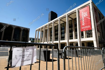 David Geffen Hall at Lincoln Center closed during COVID-19 lockdown, in New York