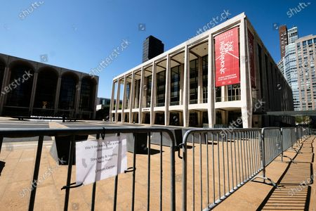 Stock Image of David Geffen Hall at Lincoln Center closed during COVID-19 lockdown, in New York
