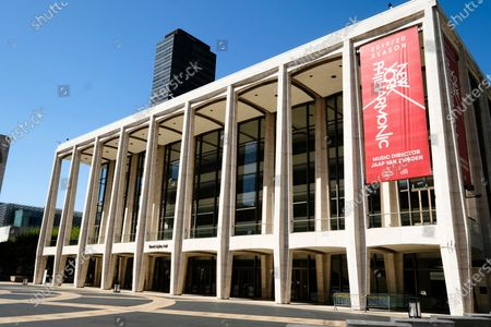 Stock Picture of David Geffen Hall at Lincoln Center closed during COVID-19 lockdown, in New York