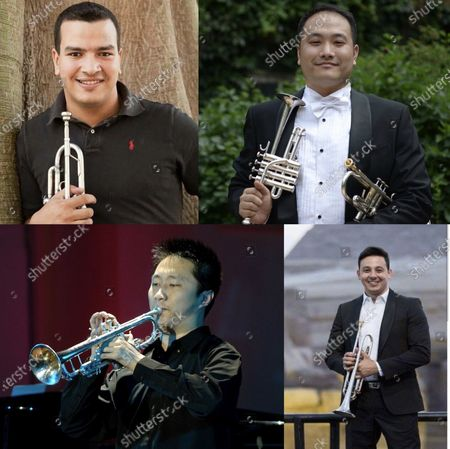 This combination of file pictures shows the musicians Walid Ali Gabr from Egypt, Yuan Ye from China, Li Shanpeng from China and Mohamed Helmy from Egypt (L-R, top to bottom) who participated in the virtual performance of the Triumphal March.