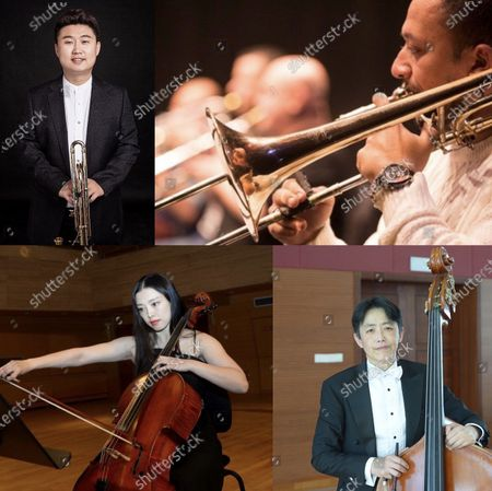 This combination of file pictures shows the musicians Jiao Jian from China, Ahmed Abdel Aziz from Egypt, Qu Yuanyuan from China and Yang Mo from China (L-R, top to bottom) who participated in the virtual performance of the Triumphal March.