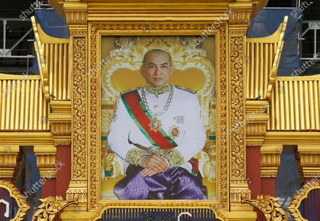 A huge portrait of Cambodia's King Norodom Sihamoni is on display in front of the Royal Palace in Phnom Penh, Cambodia, 13 May 2020. The monarch's birthday celebrations are held from 13 to 15 May.