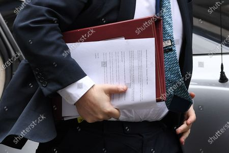 Boris Johnson returns to No.10 Downing Street following PMQs at the House of Commons. A close up of Boris' papers for a meeting with Sir Graham Brady.
