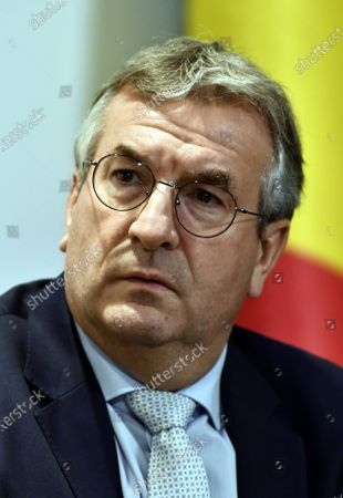 Federation Wallonia - Brussels Minister President Pierre-Yves Jeholet during a meeting of the National Security Council, consisting of politicians and intelligence services, to discuss the deconfinement as Belgian is in its ninth week of confinement in the Covid-19 (Coronavirus) crisis in Brussels, Belgium, 13 May 2020.