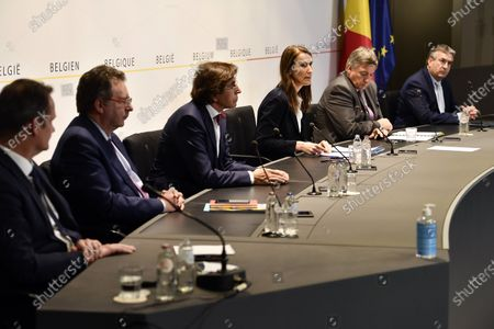 (L-R) German Community Minister President Oliver Paasch, Brussels region Minister-President Rudi Vervoort, Walloon Minister President Elio Di Rupo, Belgian Prime Minister Sophie Wilmes, Flemish Minister President Jan Jambon and Federation Wallonia - Brussels Minister President Pierre-Yves Jeholet during a meeting of the National Security Council, consisting of politicians and intelligence services, to discuss the deconfinement as Belgian is in its ninth week of confinement in the Covid-19 (Coronavirus) crisis in Brussels, Belgium, 13 May 2020.