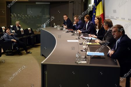 (L-R) German Community Minister President Oliver Paasch, Brussels region Minister-President Rudi Vervoort, Walloon Minister President Elio Di Rupo, Belgian Prime Minister Sophie Wilmes, Flemish Minister President Jan Jambon and Federation Wallonia - Brussels Minister President Pierre-Yves Jeholet during a press conference after a meeting of the National Security Council, consisting of politicians and intelligence services, to discuss the deconfinement as Belgian is in its ninth week of confinement in the Covid-19 (Coronavirus) crisis in Brussels, Belgium, 13 May 2020.