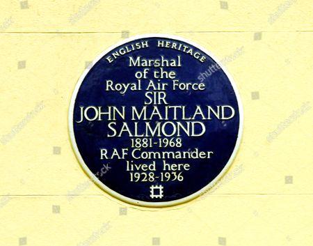Blue Plaque - Marshall of the Royal AIr Force, John Maitland Salmond, RAF Commander, 27 Chester Terrace, Camden, London