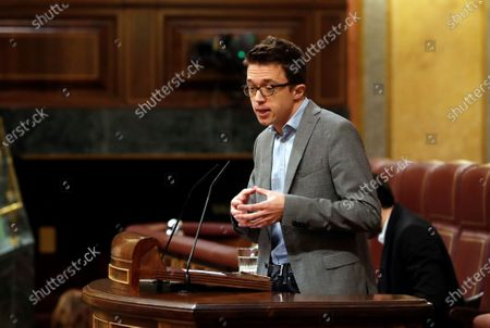 Spanish left Mas Pais (More Country) party spokesman Inigo Errejon speaks during question time at the Lower House in Madrid, Spain, 13 May 2020. Spain is at the beginning of a four-phase de-escalation plan to lift lockdown restrictions that were implemented due to the ongoing pandemic of the COVID-19 disease caused by the SARS-CoV-2 coronavirus. Phase Zero started on 04 May 2020, but moves to the next stage depends on the health situation in each of the country's provinces, reports state.