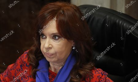 Vice President Cristina Fernandez leads a virtual Senate session inside Congress during a government-ordered lockdown to curb the spread of the new coronavirus in Buenos Aires, Argentina