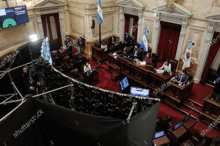 The Argentine Senate holds the first virtual session in its history, led by the President of that chamber and Vice President of the country, Cristina Fernandez de Kirchner (C), in Buenos Aires, Argentina, 13 May 2020.