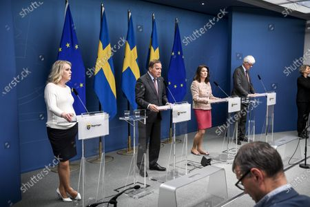 Sweden's Social Minister Lena Hallengren, Prime Minister Stefan Lofven, Foreign Minister Ann Linde and General Director of the Public Health Agency of Sweden Johan Carlson during a press briefing on the Coronavirus outbreak
