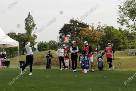 Park Ji-young of South Korea watches her tee shot on the 10th hole during the first round of the KLPGA Championship at the Lakewood Country Club in Yangju, South Korea