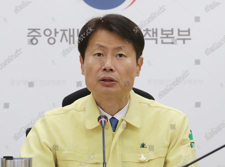 Vice Health Minister Kim Ganglip speaks during a meeting at the government complex in Sejong, South Korea, 14 May 2020, to discuss measures to deal with the spread of the new coronavirus.