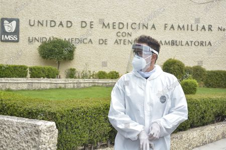 Editorial picture of Mariana Seona and Julio Camejo delivery medical supplies, Mexico City, Mexico - 13 May 2020