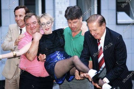 L -R Michael Knowles, Paul Shane, Su Pollard, Jeffrey Holland and Donald Hewlett - You Rang, M'Lord? 1989