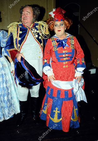 Mollie Sugden and Stratford Johns in pantomime c.1989