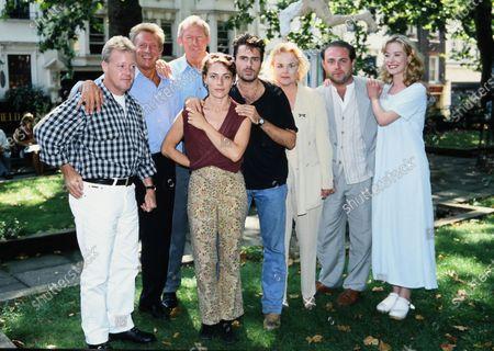The Perfect Match cast 1995 - L -R Keith Chegwin, Denis Law, Bob Wilson, Saskia Reeves, Con O'Neill, Sheila Gish, John Thomson and Beth Goddard