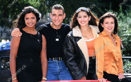 L -R Jenny Powell, Vinnie Jones, Diane Youdale and Ginny Buckley - Men and Motors Tv Show 1996