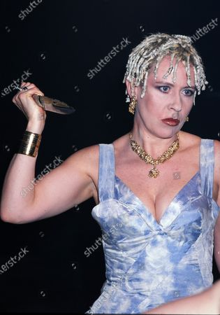 Stock Picture of Hazel O'Connor with knife 1998