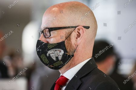 Stock Image of Former Secretary General of the German Social Democratic Party (CDU) and member of the Bundestag, Peter Tauber wears a Star Wars themed face mask during a session of the Bundestag, Germany's lower house of parliament in Berlin, Germany, 14 May 2020. Members of parliament discussed and voted on a series of measures to deal with the coronavirus disease (COVID-19) pandemic in Germany.