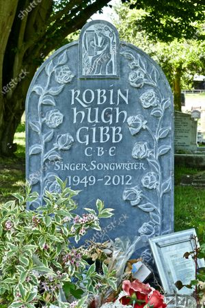 Stock Photo of Robin Gibb of the Bee Gee's grave remains unattended in St Mary's Churchyard.