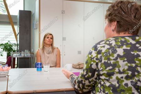 Stock Image of Queen Maxima during a visit to the Drentheplantsoen residential care location for the mildly mentally handicapped of the Middin foundation in The Hague.