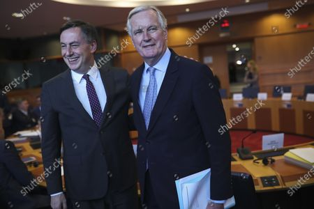 European Commission's Head of Task Force for Relations with the United Kingdom Michel Barnier, right, is greeted by David McAllister, the German EU parliamentarian who is the legislature's top official on the bilateral relations. Slowed by the coronavirus pandemic and whipped up by a British-imposed deadline, talks between the EU and the UK on a future relationship in the wake of Brexit are struggling to make significant progress. A third negotiation session is drawing to a close on Friday, May 15, 2020 but so far, just over 100 days after the official exit of the UK from the EU, fundamental gaps still exist
