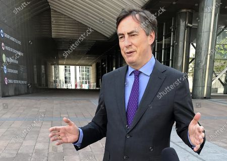 Stock Image of Member of European Parliament David McAllister speaks during an interview outside European Parliament on . Slowed by the coronavirus pandemic and whipped up by a British-imposed deadline, talks between the EU and the UK on a future relationship in the wake of Brexit are struggling to make significant progress. A third negotiation session is drawing to a close on Friday, May 15, 2020 but so far, just over 100 days after the official exit of the UK from the EU, fundamental gaps still exist