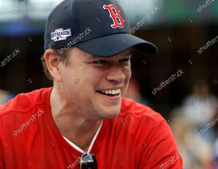 "Actor Matt Damon waits for Game 5 of the World Series baseball game in Los Angeles. Damon has on Wednesday, May 13, 2020 described living in Ireland during the country's coronavirus lockdown as like being in a ""fairy tale"" during a surprise radio interview. The Hollywood star and his family were in Dublin, where he had been filming Ridley Scott's ""The Last Duel,"" before travel restrictions were imposed worldwide"